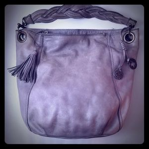 Large grey leather lucky brand shoulder bag
